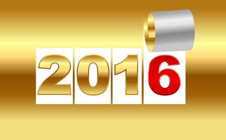 ringlet: Number 2016. Golden background sheet of  with curl. New Year background. Christmas background. Vector EPS10. Illustration