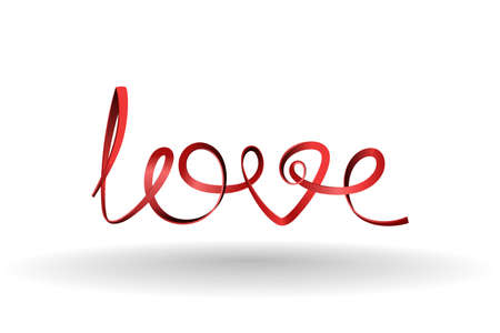 declaration of love: Love. Word love of red ribbon. elements for design.