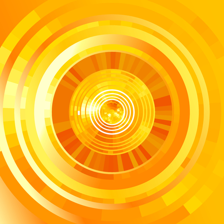 circles pattern: Abstract yellow futuristic  tunnel  background. elements for hi-tech design.