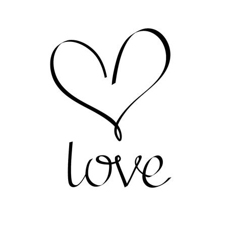 corazon: Amor letras. inscripción de la caligrafía. Icono del corazón. Amo el icono. elementos para el diseño. Vectores
