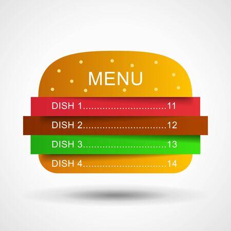 layer: Restaurant menu in layers burger. Burger illustration. Fast food menu illustration. Menu illustration. Illustration