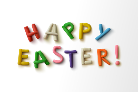 compiled: Happy easter! Inscription of colorful plasticine letters. Vector illustration.