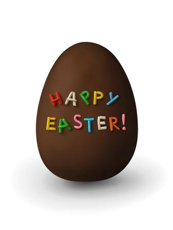 Chocolade paasei met plasticine inscriptie Happy Easter! op een witte achtergrond.