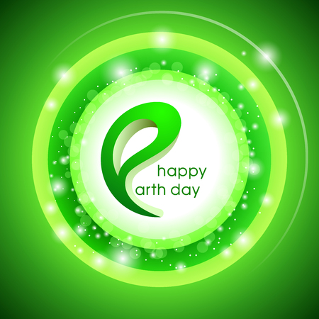 glowing earth: Happy Earth Day. Vector design illustration with glowing green background.