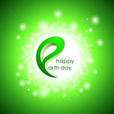 Happy Earth Day. Vector design illustration with glowing green background.