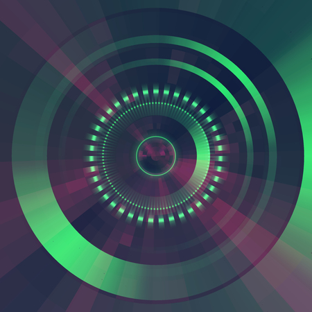 disks: Virtual tecnology vector background.  Abstract green futuristic  tunnel  background.