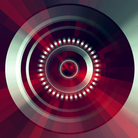 disks: Virtual tecnology vector background.  Abstract red futuristic  tunnel  background. Illustration