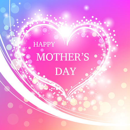 Corazón con el saludo Feliz Día de la Madre. El día de madre feliz con el corazón y bokeh. Foto de archivo - 55940142