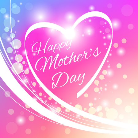 Heart with greeting Happy Mother's Day. Happy Mother's Day Greeting Card with Heart and Bokeh. Stok Fotoğraf - 55940141