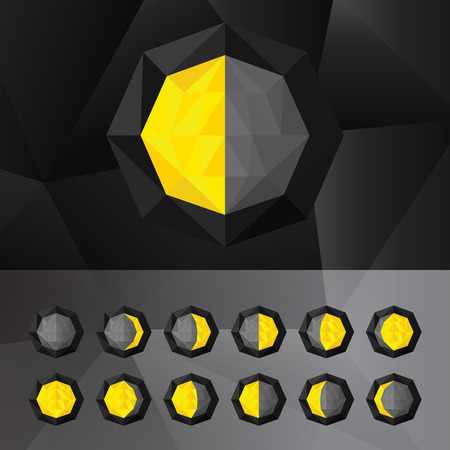 moon phases: Moon phases. Set of phases of the moon icons in a triangular style.