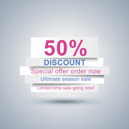 ad: Advertisement of the 50% discount. Market calls on the paper strips