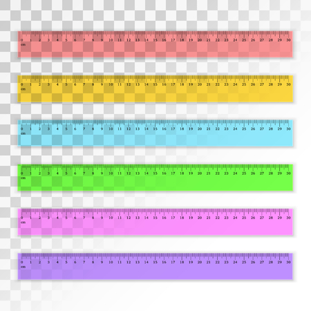 centimeter: Set of transparent plastic 30 centimeter rulers in different colors. Measuring tool. School supplies