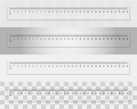 cm: Transparent plastic ruler 30 centimeters  on different backgrounds. Measuring tool. School supplies