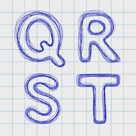 Alphabet drawn by hand in a notebook for exercises. Alphabet letters in the form of a plurality of loops. Outline font style. Easy to edit. Caps Look Q, R, S, T Ilustração