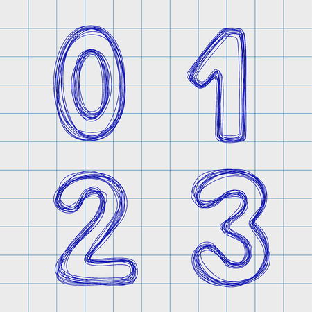 2 0: Figures drawn by hand in a notebook for exercises. Numeral in the form of a plurality of loops. Outline font style. Easy to edit. Numbers 0, 1, 2, 3