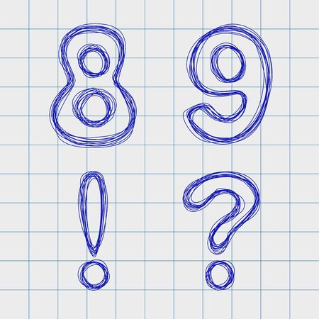 interrogation point: Figures and signs drawn by hand in a notebook for exercises. Outline font style. Easy to edit. Figures 8, 9. Signs !,?