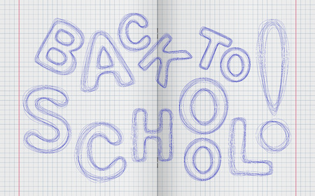 arbitrary: Back to school! Arbitrary label made pen letters of different sizes and directions to turn the notebook Back to school! Arbitrary inscription made on the handle