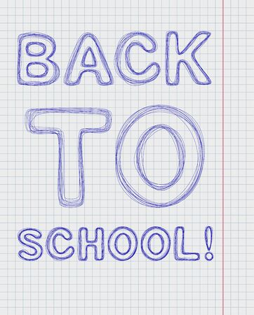 workbook: Back to school. The inscription pen back to school on notebook sheet in cell