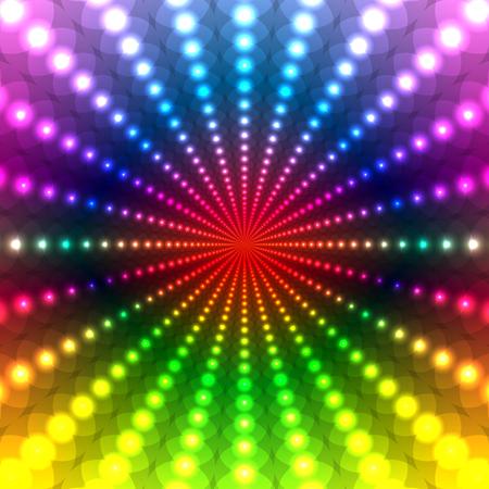 Resumen de antecedentes disco del arco iris de un círculo con un efecto de luz de neón