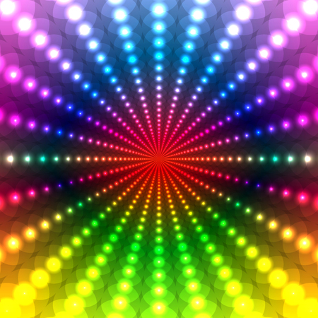 Abstract Rainbow Disco background of a circle with a neon light effect Illustration