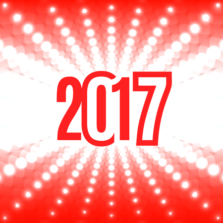 two thousand: New Year background with the date 2017. White flash of light on a red background