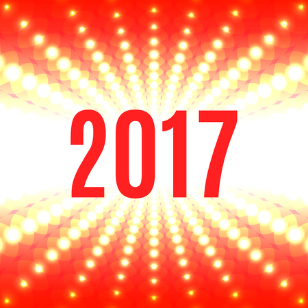 two thousand: New Year background with the date 2017 and white flash of light on a red
