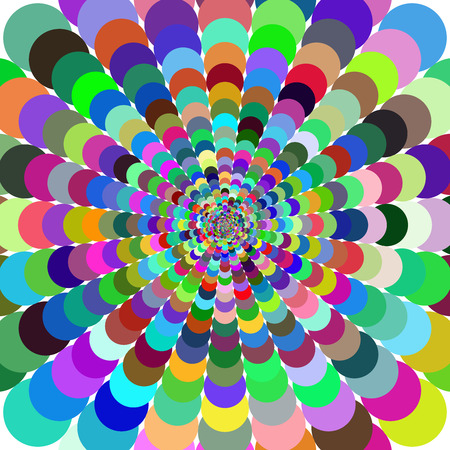 Abstract bright colorful patterned background. Motley abstract background with bright circles creating a pattern. Followed gradually increases from the center Illustration