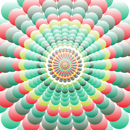 discrete: Abstract patterned colorful background. Abstract background of colorful circles ordered creating floral pattern. Followed gradually increases from the center