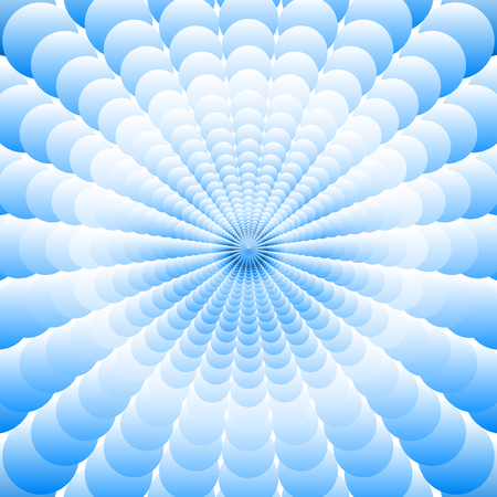 Abstract  blue background of many  superposed blue circles increasing from the center Illustration