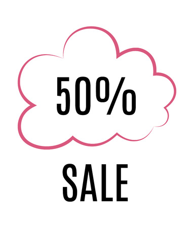 advertisements: Sales icon with cloud symbol. Illustration sale. 50 % Sale