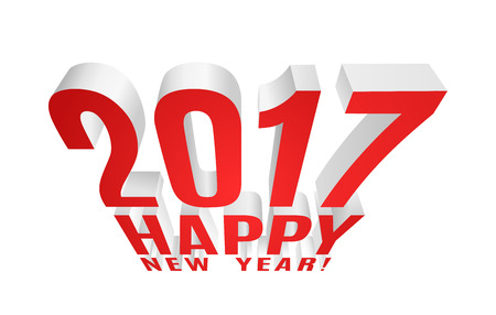 2017 Happy New Year! Three-dimensional element for your greeting card. Vector EPS10