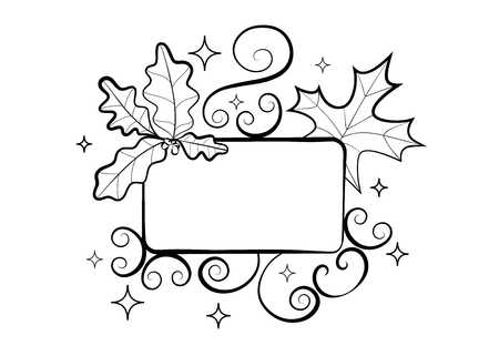 fall leaves on white: Autumn hand-drawn composition. Fall season frame with leaves of maple and oak on  background of the rays. Black and white doodles  floral design element for cover, postcards, greeting cards, posters Illustration