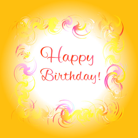 Happy birthday yellow greeting card. Colorful frame