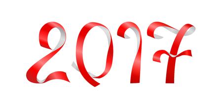 Inscription 2017 of red paper twisted stripes on light background Illustration