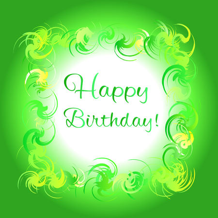 volute: Happy birthday green greeting card. Colorful frame