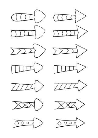 indirect: Set of hand drawn arrows with various patterns