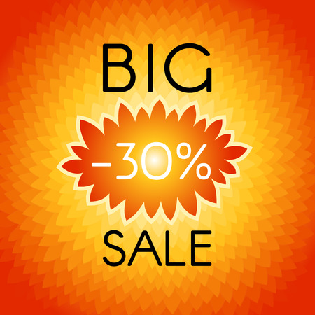 advertisements: Big sale background with wavy label, which indicates the percentage discounts.  Vector illustration. EPS 10 Illustration