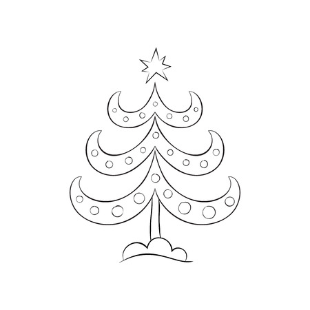 Hand drawn Christmas tree with balls. Christmas symbol. Symbol of the New Year. Outline Christmas tree icon