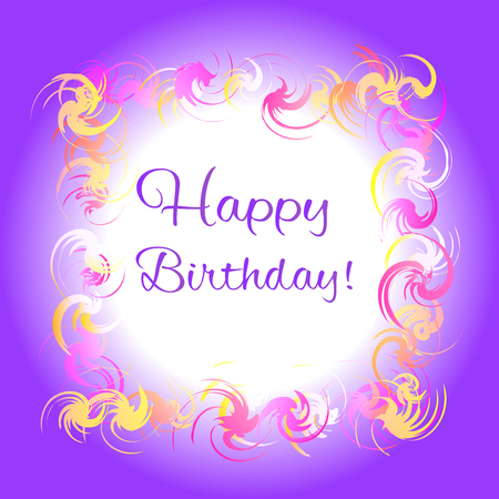 violaceous: Happy birthday purple greeting card. Colorful frame
