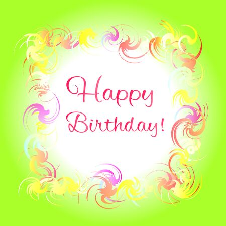 Happy birthday green greeting card. Colorful frame