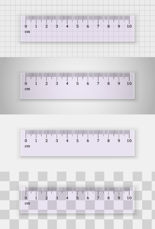 centimeters: Transparent plastic ruler 10 centimeters  on different backgrounds. Measuring tool. School supplies