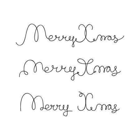 christmas element: Set from hand-drawn lettering Merry Christmas. Design element for cover, print, web, wrapping. Vector illustration