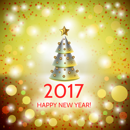 New Year background with elegant metallic cartoon Christmas tree and Happy New Year 2017! inscription. Vector illustration
