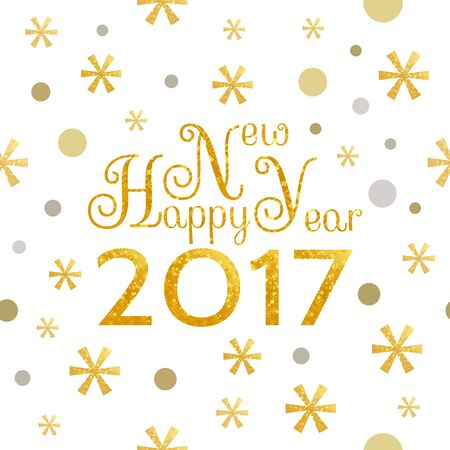 2017 Happy New Year golden background with symbolic snowflakes and circles and greeting  inscription