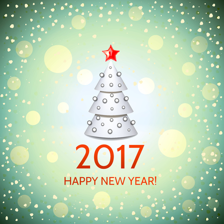argent: New Year background with elegant white cartoon Christmas tree and Happy New Year 2017! inscription. Vector illustration