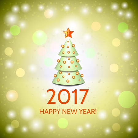 argent: New Year background with elegant cartoon Christmas tree and Happy New Year 2017! inscription. Vector illustration