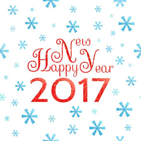 2017 Happy New Year background with blue symbolic snowflakes  and red greeting  inscription