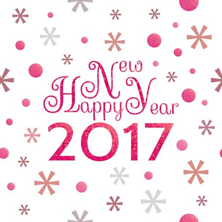 2017 Happy New Year background with red symbolic  snowflakes and circles and greeting  inscription Illustration