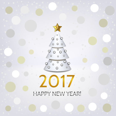 argent: New Year background with elegant white Christmas tree and Happy New Year 2017! inscription. Vector illustration