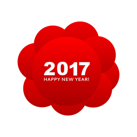 happy web: Happy New Year 2017 congratulation on the red circles make up a symbolic cloud. Can be used as a 2017 banner, cover, print, web, wrapping and new year 2017 card